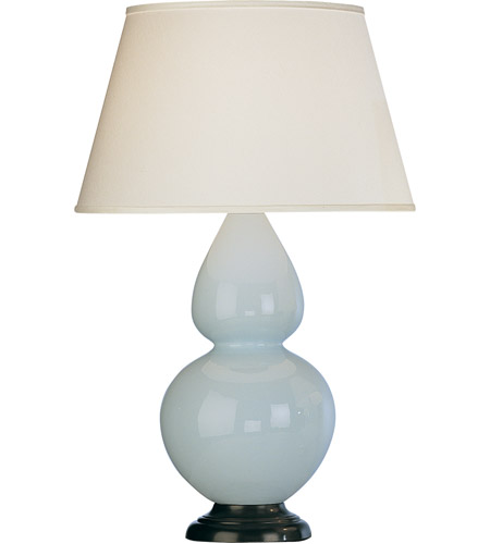 Robert Abbey 1646X Double Gourd 31 inch 150 watt Baby Blue with Deep Patina Bronze Table Lamp Portable Light in Pearl Dupioni Fabric