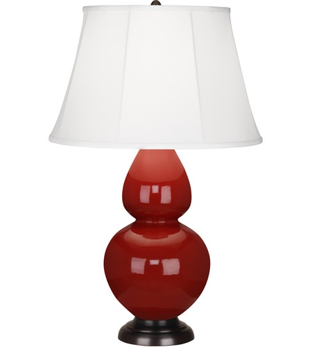 Robert Abbey 1647 Double Gourd 31 inch 150 watt Oxblood with Deep Patina Bronze Table Lamp Portable Light in Ivory Silk