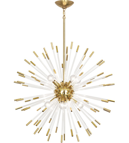 robert abbey 166 andromeda 8 light 28 inch modern brass with clear acrylic rods chandelier ceiling light - Robert Abbey Lighting