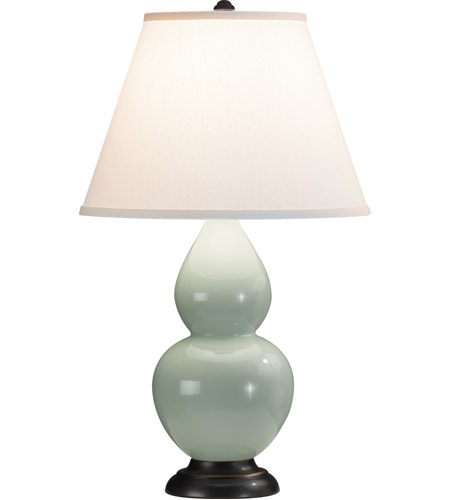 Robert Abbey 1787X Small Double Gourd 23 inch 150 watt Celadon Accent Lamp Portable Light in Deep Patina Bronze, Pearl Dupioni photo thumbnail