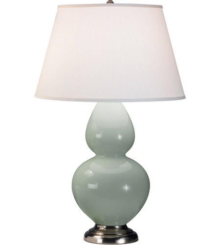 Robert Abbey 1791X Double Gourd 31 Inch 150 Watt Celadon Table Lamp  Portable Light In Antique Silver, Pearl Dupioni Fabric