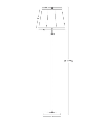 Robert Abbey 1842 Bruno 53 inch 150 watt Lead Bronze with Ebonized Nickel Floor Lamp Portable Light in Grey Microfiber Fabric 1842_line.jpg