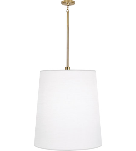 Robert Abbey 2079W Rico Espinet Buster 1 Light 22 inch Polished Brass Pendant Ceiling Light in Ascot White Fabric photo