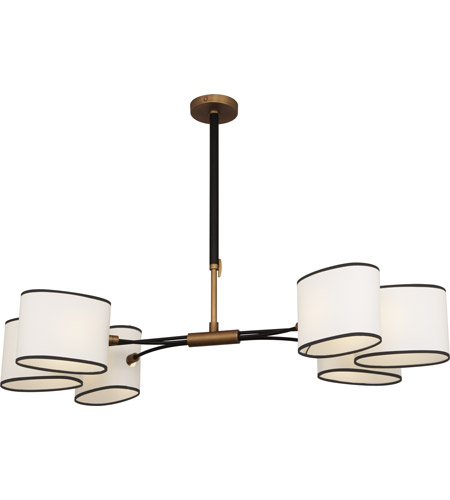Robert Abbey 2128 Axis 6 Light 49 inch Aged Brass with Cocoa Brown Chandelier Ceiling Light in Fondine Fabric