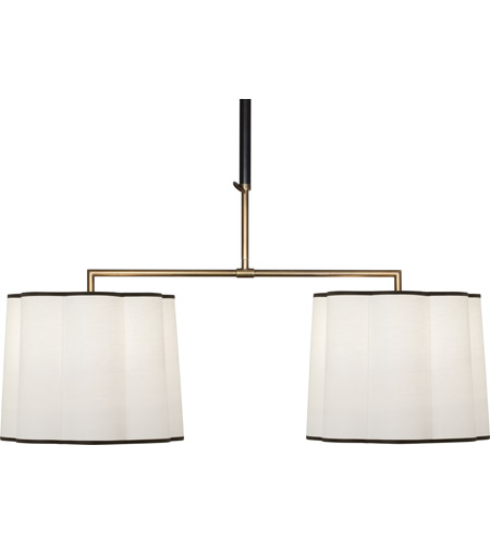 Robert Abbey 2129 Axis 4 Light 42 inch Aged Brass with Cocoa Brown Pendant Ceiling Light in Fondine Fabric