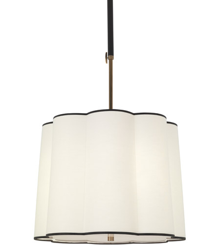 Robert Abbey 2135 Axis 3 Light 24 inch Aged Brass with Cocoa Brown Pendant Ceiling Light in Fondine Fabric
