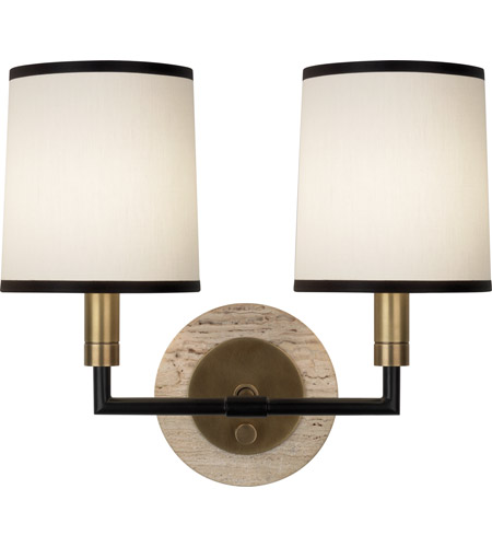 Robert Abbey 2137 Axis 2 Light 14 inch Aged Brass with Cocoa Brown Wall Sconce Wall Light in Aged Natural Brass, Fondine Fabric