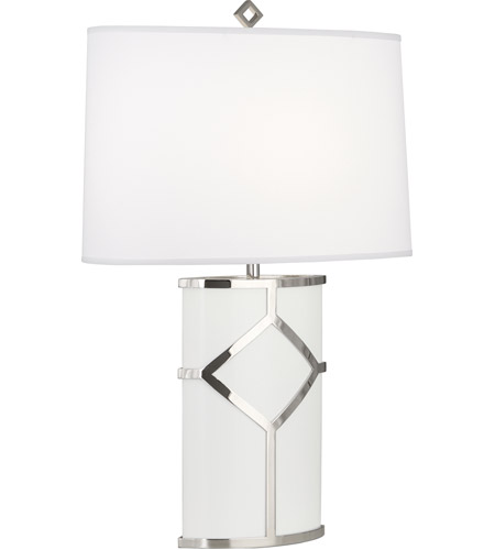 Robert Abbey 2277 Diamond 27 inch 100 watt White Paint and Polished Nickel Table Lamp Portable Light