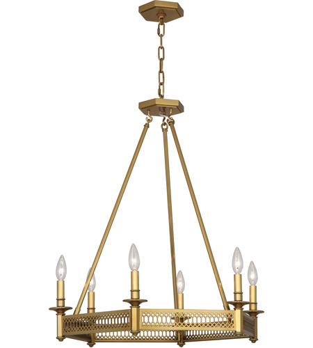 Robert Abbey 308 Williamsburg Tucker 6 Light 23 inch Antique Brass Chandelier Ceiling Light photo