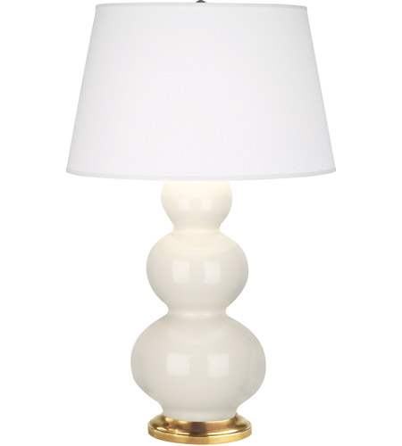 Bone Ceramic Triple Gourd Table Lamps