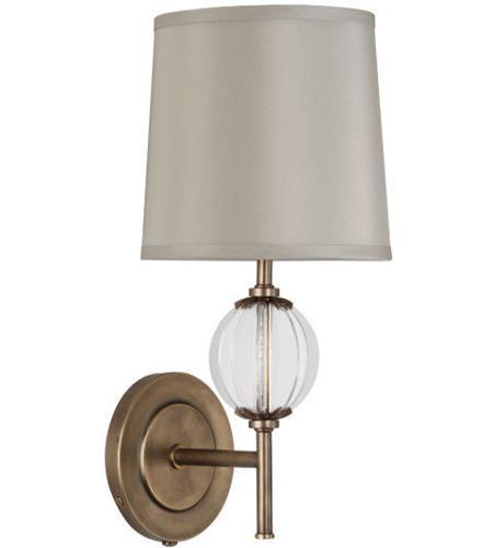 Robert Abbey 3374 Latitude 1 Light 3 inch Aged Brass Wall Sconce Wall Light in Oyster Grey Silk