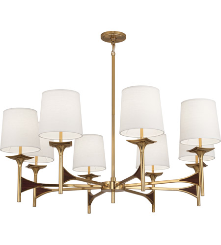 Robert Abbey 3396 Trigger 8 Light 15 inch Modern Brass with Walnut Wood Chandelier Ceiling Light in Walnuted Wood photo