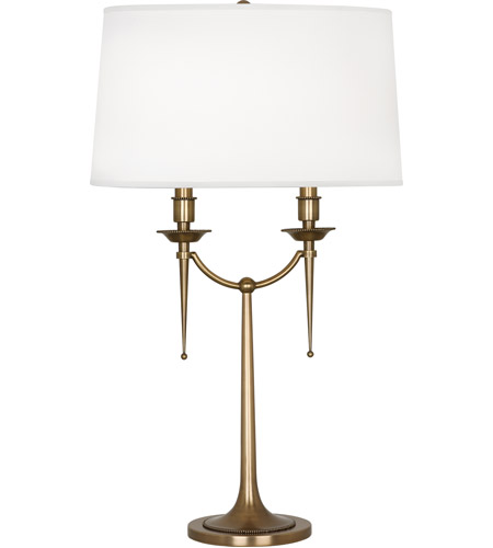Robert Abbey 386 Cedric 30 inch 60 watt Warm Brass Table Lamp Portable Light in Ascot White Fabric