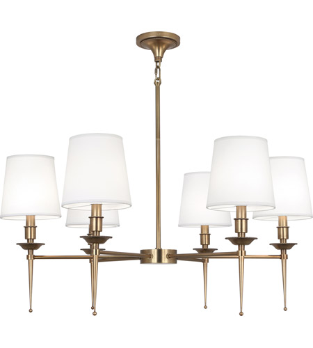 Robert Abbey 390 Cedric 6 Light 34 inch Warm Brass Chandelier Ceiling Light
