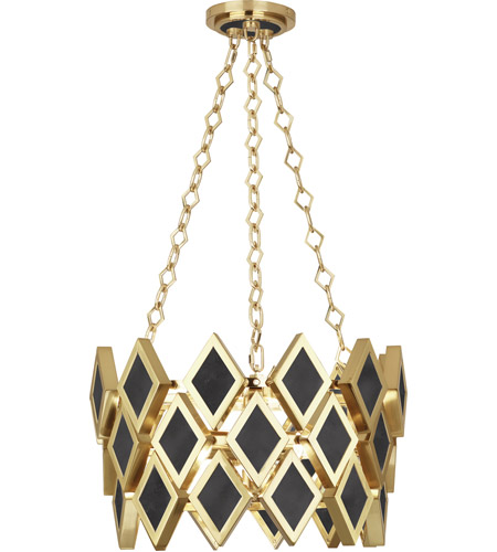Robert Abbey 423 Edward 3 Light 18 inch Modern Brass with Black Marble Pendant Ceiling Light, Black Marble Accents photo