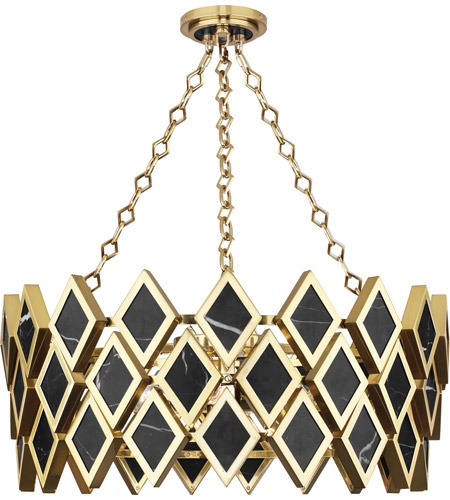 premium selection 33ab1 9800d Edward 4 Light 26 inch Modern Brass with Black Marble Chandelier Ceiling  Light