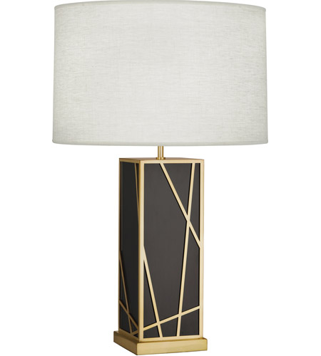Robert Abbey 530W Michael Berman Bond 30 inch 150 watt Deep Patina Bronze with Modern Brass Table Lamp Portable Light in Oyster Linen photo