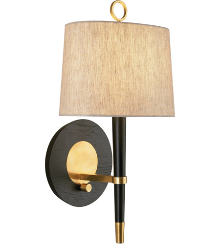 Robert Abbey 672 Jonathan Adler Ventana 1 Light 7 inch Ebonyed Wood with Antique Brass Wall Sconce Wall Light photo