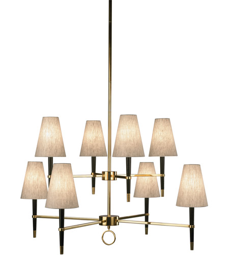 Robert Abbey 673 Jonathan Adler Ventana 8 Light 43 inch Ebonyed Wood with Antique Brass Chandelier Ceiling Light in Ebony Wood w/ Antique Brass photo
