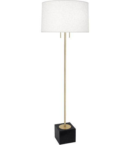 Robert Abbey 681 Jonathan Adler Canaan 65 Inch 100 Watt Antique Brass Floor Lamp Portable Light In White Brussels Linen Black Marble Base