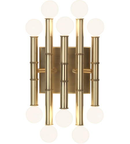 Robert Abbey 686 Jonathan Adler Meurice 10 Light 8 inch Modern Brass Wall Sconce Wall Light photo