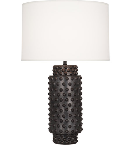 Robert Abbey 800 Dolly 28 inch 150 watt Textured Ceramic with Gunmetal Reactive Glaze Table Lamp Portable Light in Fondine Fabric