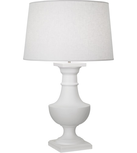 Robert Abbey 837 Bronte 39 inch 150 watt Matte White Painted Table Lamp Portable Light in White Brussels Linen