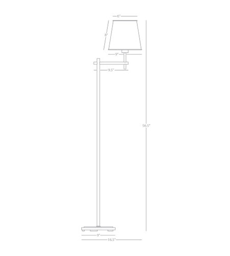 Robert Abbey 882 Aiden 57 inch 100 watt Aged Brass Floor Lamp Portable Light 882_line.jpg