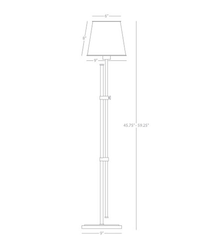 Robert Abbey 883 Aiden 46 inch 100 watt Aged Brass Floor Lamp Portable Light 883_line.jpg