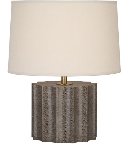 Robert Abbey 891 Anna 18 inch 100 watt Faux Brown Snakeskin with Aged Brass Accent Lamp Portable Light in Taupe Dupioni