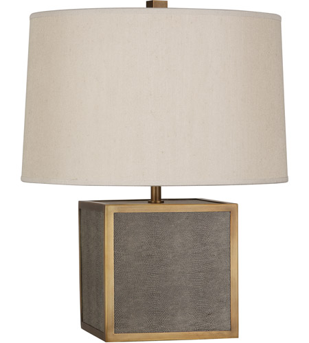 Robert Abbey 897 Anna 20 inch 150 watt Faux Brown Snakeskin with Aged Brass Table Lamp Portable Light, Aged Brass Accents