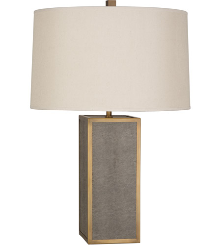 Robert Abbey 898 Anna 29 inch 150 watt Faux Brown Snakeskin with Aged Brass Table Lamp Portable Light in Taupe Dupioni, Aged Brass Accents photo