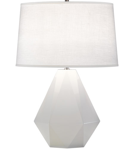 Robert Abbey 932 Delta 23 inch 150 watt Lily with Polished Nickel Table Lamp Portable Light in Oyster Linen