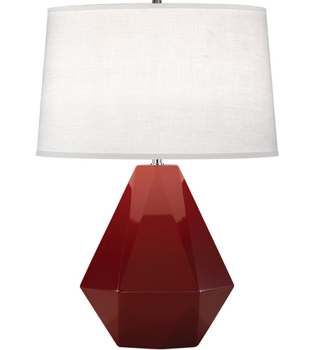 Robert Abbey 938 Delta 23 inch 150 watt Oxblood with Polished Nickel Table Lamp Portable Light
