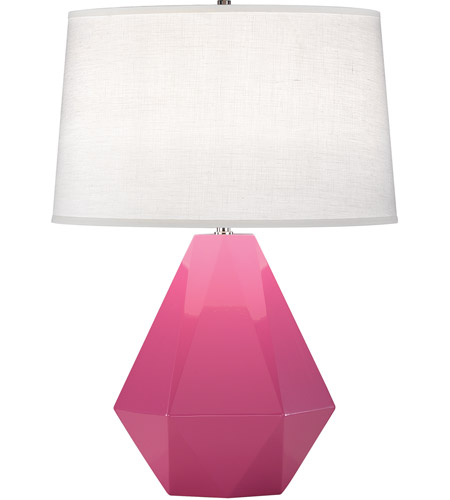 Robert Abbey 941 Delta 23 inch 150 watt Schiaparelli Pink with Polished Nickel Table Lamp Portable Light