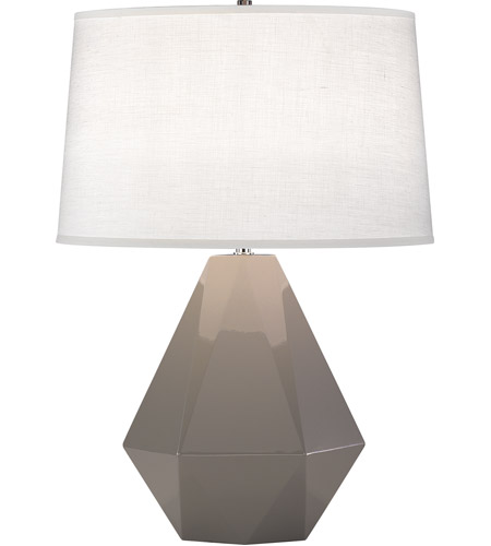Robert Abbey 942 Delta 23 inch 150 watt Smoky Taupe with Polished Nickel Table Lamp Portable Light in Oyster Linen