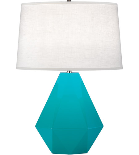 Robert Abbey 943 Delta 23 inch 150 watt Egg Blue with Polished Nickel Table Lamp Portable Light
