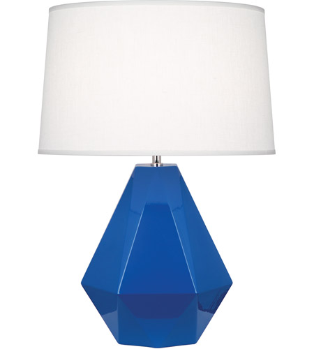 Robert Abbey 946 Delta 23 inch 150 watt Marine Blue with Polished Nickel Table Lamp Portable Light in Oyster Linen