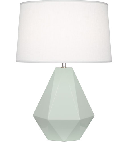 Robert Abbey 947 Delta 23 inch 150 watt Celadon with Polished Nickel Table Lamp Portable Light in Oyster Linen photo thumbnail