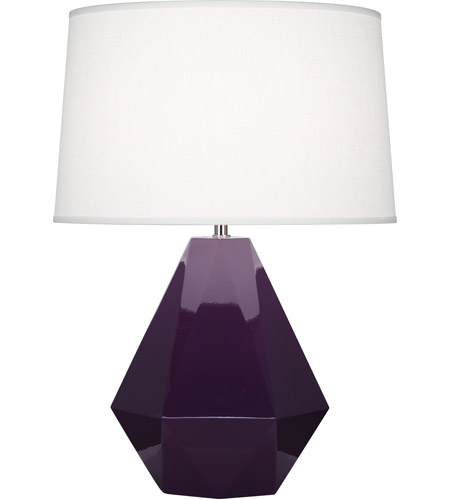 Robert Abbey 949 Delta 23 inch 150 watt Amethyst with Polished Nickel Table Lamp Portable Light