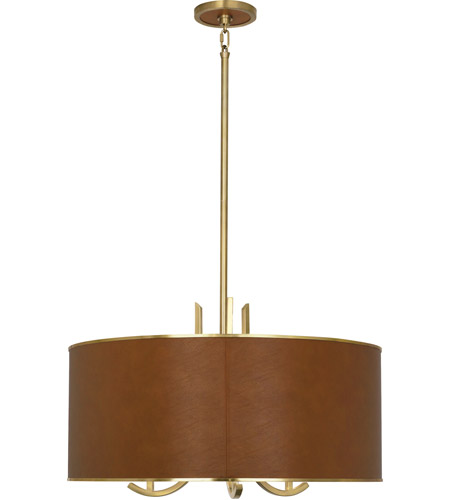 Robert Abbey 953C Francesco 3 Light 25 inch Antique Brass with Camel Leather Pendant Ceiling Light photo