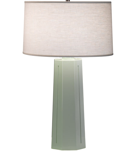 Robert Abbey 977 Mason 26 inch 150 watt Celadon with Polished Nickel Table Lamp Portable Light photo thumbnail