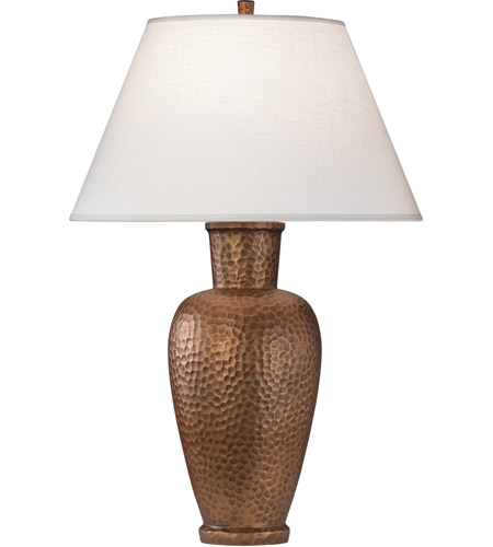 Robert Abbey 9867 Beaux Arts 31 inch 150 watt Dark Antique Copper Over Hammered Cast Metal Table Lamp Portable Light in Oyster Linen