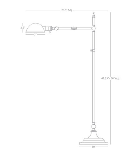 Robert Abbey A1863 Ant Bee 41 inch 60 watt Aged Brass Floor Lamp Portable Light A1863_line.jpg
