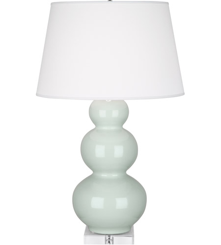 Robert Abbey A371X Triple Gourd 33 inch 150 watt Celadon Table Lamp Portable Light in Lucite photo thumbnail