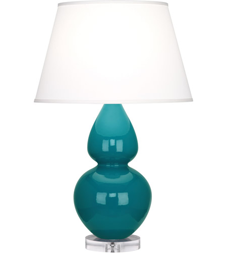 Robert Abbey A753X Double Gourd 30 inch 150 watt Peacock Table Lamp Portable Light in Lucite, Pearl Dupioni photo thumbnail