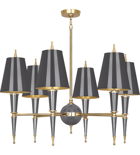 Robert Abbey A904 Jonathan Adler Versailles 6 Light 31 inch Ash Lacquer with Modern Brass Chandelier Ceiling Light in Ash With Matte Gold photo