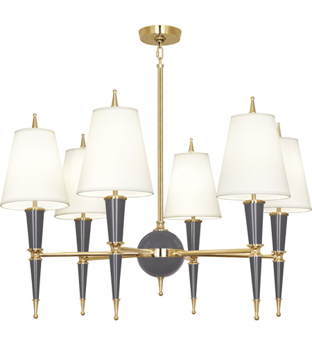Robert Abbey A904X Jonathan Adler Versailles 6 Light 37 inch Ash Paint with Modern Brass Chandelier Ceiling Light in Fondine Fabric photo