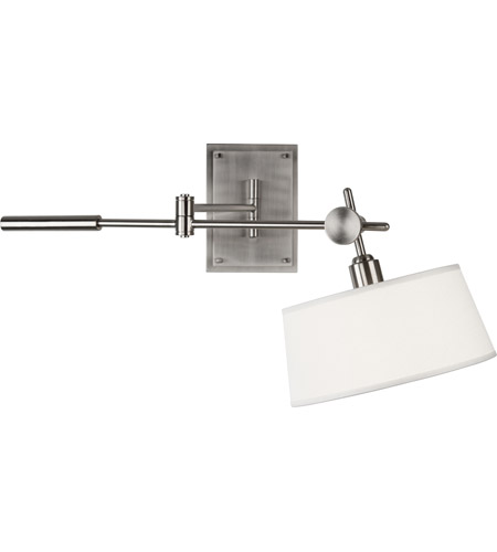 Robert Abbey B2098 Rico Espinet Miles 1 Light 6 inch Brushed Nickel Wall Sconce Wall Light in Open Weave White Linen photo