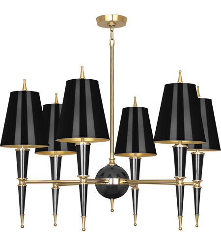 Robert Abbey B904 Jonathan Adler Versailles 6 Light 37 inch Black Paint with Modern Brass Chandelier Ceiling Light in Black Painted Opaque Parchment photo